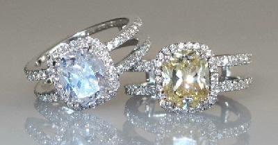 花式深黄色钻石戒指